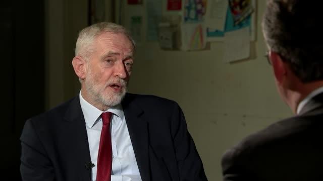 general election 2019: jeremy corbyn interview; england: east midlands: int jeremy corbyn interview sot part 4 of 4. - on brexit, anti-semitism - 反ユダヤ主義点の映像素材/bロール