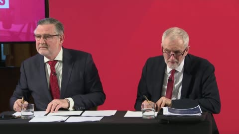 general election 2019: jeremy corbyn press conference; england: london: int barry gardiner answering question sot. jeremy corbyn speaking sot -... - 2010 2019 stock videos & royalty-free footage