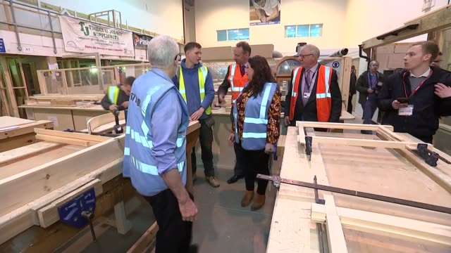 jeremy corbyn visits college in suttoninashfield england nottinghamshire suttoninashfield int man measuring wood / various of students in woodwork... - massachusetts stock videos & royalty-free footage
