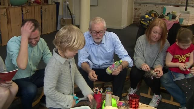 jeremy corbyn visits early years arts project in leeds england west yorkshire leeds int jeremy corbyn sitting and chatting with children and parents... - craft stock videos & royalty-free footage
