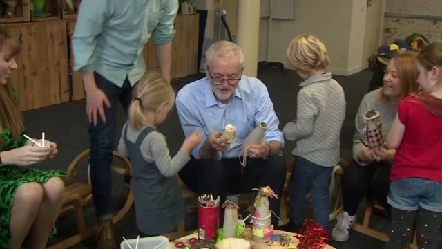 jeremy corbyn visits early years arts project in leeds england west yorkshire leeds int jeremy corbyn and angela rayner sitting and chatting with... - craft stock videos & royalty-free footage