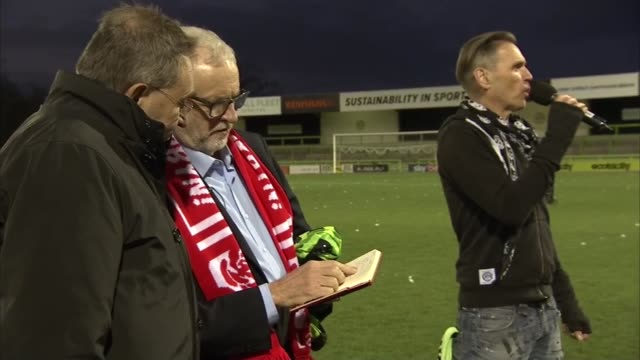 jeremy corbyn visits forest green rovers football ground england gloucestershire stroud the new lawn int supporters chanting in background / jeremy... - shirt stock videos & royalty-free footage