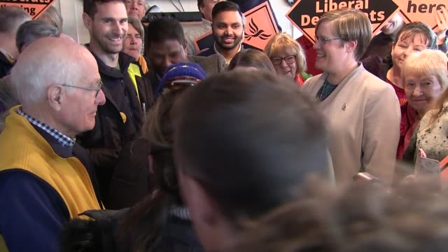 general election 2019: jo swinson rally in guildford; england: surrey: guildford: int jo swinson and zoe franklin chatting to supporters, taking... - guildford stock videos & royalty-free footage