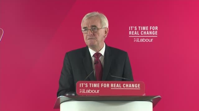vidéos et rushes de general election 2019: john mcdonnell speech; england: london: lambeth: int john mcdonnell speech sot - lambeth