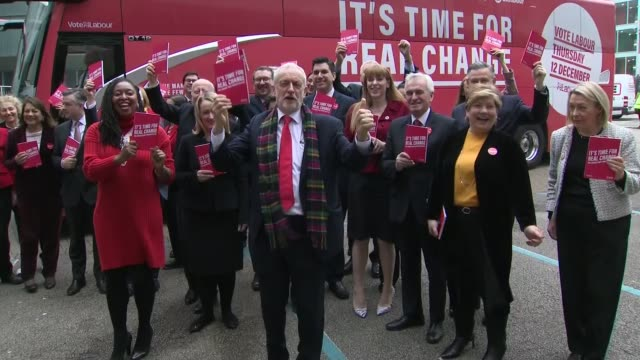 general election 2019: labour bus arrives for manifesto launch; england: birmingham: ext jeremy corbyn and labour shadow cabinet posing for photocall... - nia long stock videos & royalty-free footage