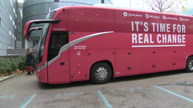 labour bus arrives for manifesto launch england birmingham ext labour party battle bus with text 'it's time for real change' arriving / jeremy corbyn... - john mcdonnell politician videos stock videos & royalty-free footage