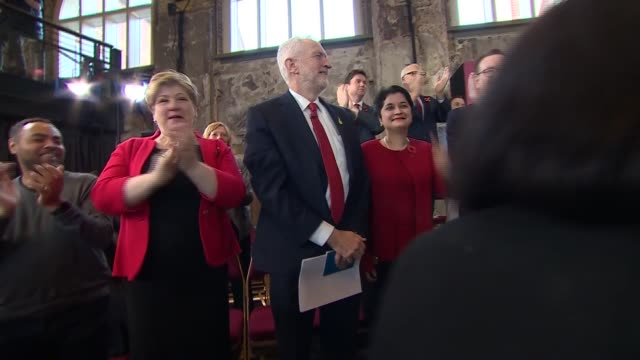 labour party campaign launch cutaways england london battersea battersea arts centre int jeremy corbyn mp members of the shadow cabinet and others... - jeremy corbyn stock videos & royalty-free footage