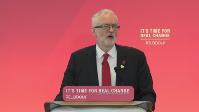 general election 2019: labour party campaign launch: jeremy corbyn speech; england: london: battersea: battersea arts centre: int jeremy corbyn mp... - jeremy corbyn stock videos & royalty-free footage