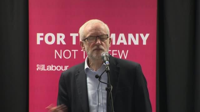 general election 2019: labour pledges free nationwide broadband; england: lancashire: int jeremy corbyn mp speech sot - jeremy corbyn stock videos & royalty-free footage