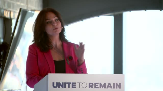 general election 2019: liberal democrats, green party and plaid cymru form remain alliance; england: london: int heidi allen press conference sot - タータンチェック点の映像素材/bロール