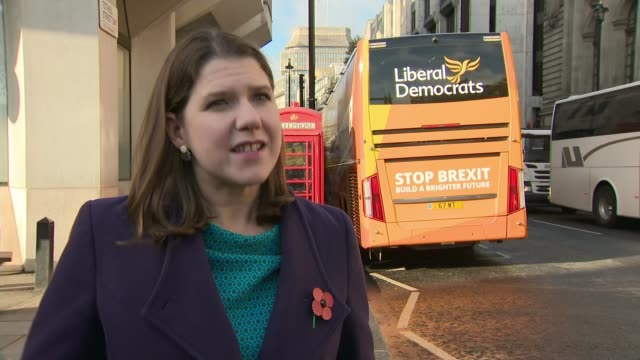 general election 2019: liberal democrats, green party and plaid cymru form remain alliance; england: london: ext jo swinson interview sot. - タータンチェック点の映像素材/bロール