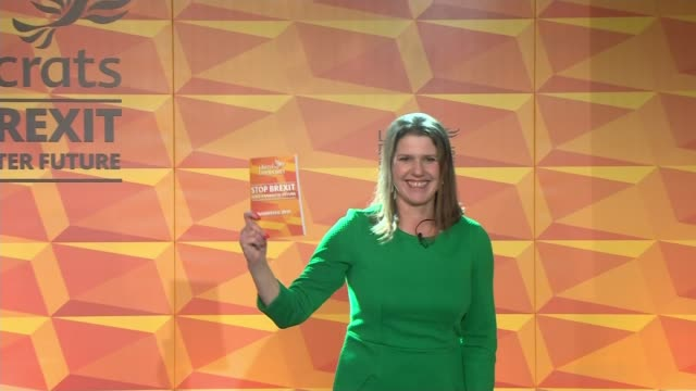 general election 2019: liberal democrats launch manifesto; england: london: camden: int various shots of jo swinson on stage at end of speech holding... - british liberal democratic party stock videos & royalty-free footage