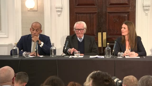 general election 2019: lord heseltine speech and press conference; england: london: int question from reporter sot lord michael heseltine answering... - purity stock videos & royalty-free footage