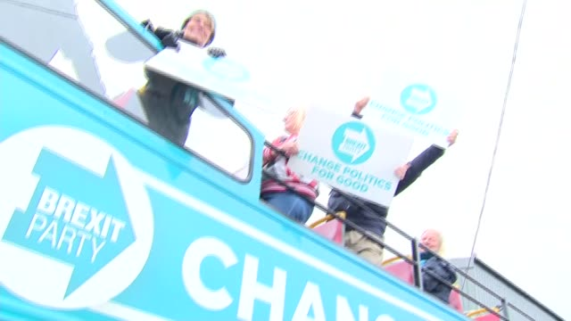 nigel farage and ann widdecombe campaign in plymouth england devon plymouth ext ann widdecombe mep along on open top bus with nigel farage mep and... - double decker bus stock videos & royalty-free footage