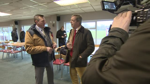nigel farage campaigning in ebbw vale wales ebbw vale int gvs nigel farage mep talking to people in club house and drinking pint of beer - drinking stock videos & royalty-free footage