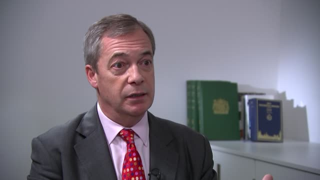 general election 2019: nigel farage interview; england: london: westminster: int nigel farage interview sot. - i'm never going to go away from... - strategy stock videos & royalty-free footage