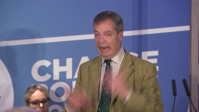 nigel farage speech to brexit party campaign event in hull england east yorkshire kingston upon hull int nigel farage mep responds to question at... - mep stock-videos und b-roll-filmmaterial