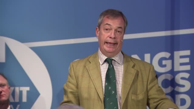 nigel farage speech to brexit party campaign event in hull england east yorkshire kingston upon hull int nigel farage mep speech continued sot /... - mep stock-videos und b-roll-filmmaterial