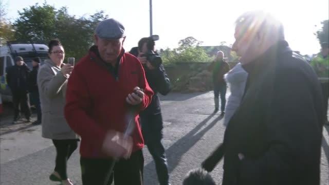 general election 2019 / north of england flooding boris johnson heckled during floods visit england south yorkshire stainforth ext boris johnson... - boris johnson stock videos & royalty-free footage