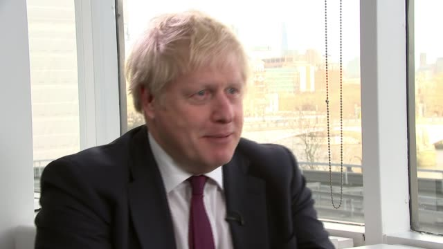 general election 2019: parties make further pledges with three days of campaigning remaining; england: london: int boris johnson interview sot - [re... - preparation stock videos & royalty-free footage