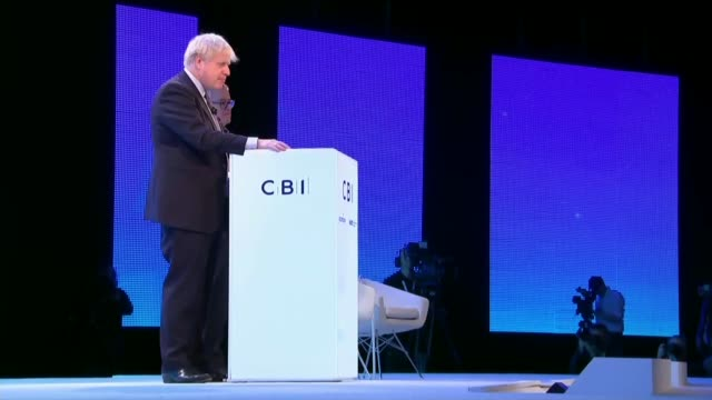 general election 2019: party leaders pitch plans to cbi to win business votes; uk, london, north greenwich, the o2: boris johnson and jeremy corbyn... - politics and government stock videos & royalty-free footage