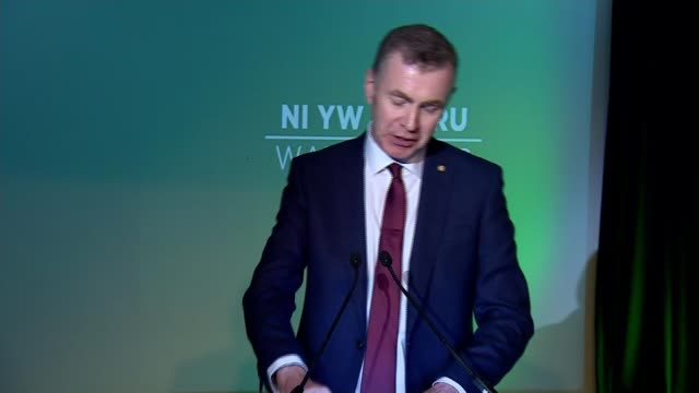 plaid cymru launch manifesto wales rhondda cynon taf nantgarw int adam price speech sot let's plant out flat not on the moon's surface but here in... - schottenkaro stock-videos und b-roll-filmmaterial