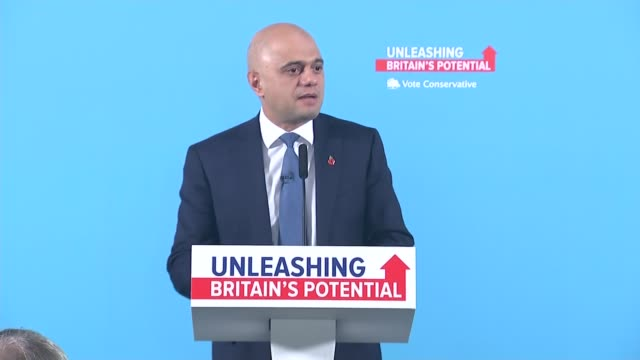 general election 2019: sajid javid press conference; england: manchester: manchester airport: int sajid javid speech sot. - we didn't call this... - paralysis stock videos & royalty-free footage