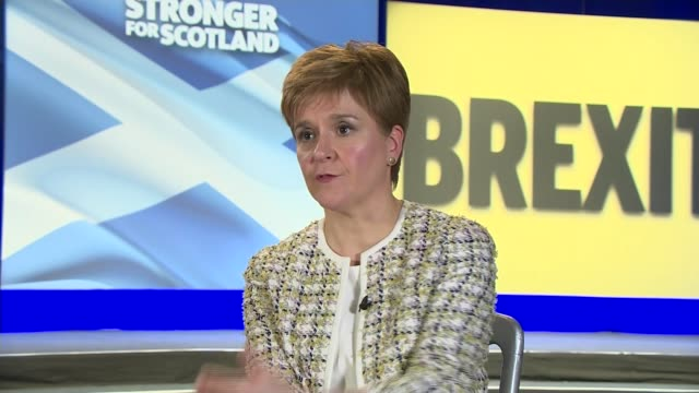 snp launch manifesto with pledge to stop brexit scotland glasgow swg3 studio warehouse int nicola sturgeon interview sot on protecting the nhs... - cathy newman stock videos & royalty-free footage