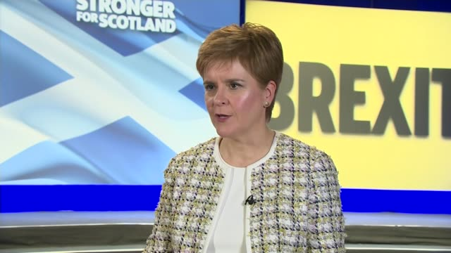 snp launch manifesto with pledge to stop brexit scotland glasgow swg3 studio warehouse int nicola sturgeon interview sot on stopping brexit and a... - cathy newman stock videos & royalty-free footage