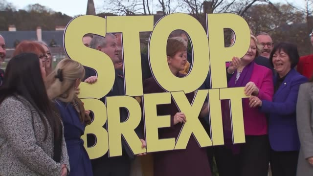 snp launches campaign as boris johnson comments create confusion about brexit deal scotland edinburgh ext nicola sturgeon msp ian blackford and... - scottish national party stock videos & royalty-free footage
