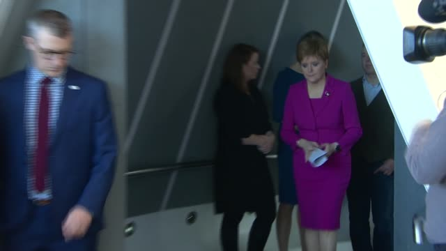 snp launches campaign as boris johnson comments create confusion about brexit deal scotland edinburgh int nicola sturgeon msp onto stage for speech - scottish national party stock videos & royalty-free footage