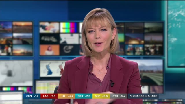 general election 2019: special: 09.25 – 10.00; england: london: gir: int studio julie etchingham to camera sot - julie etchingham stock videos & royalty-free footage
