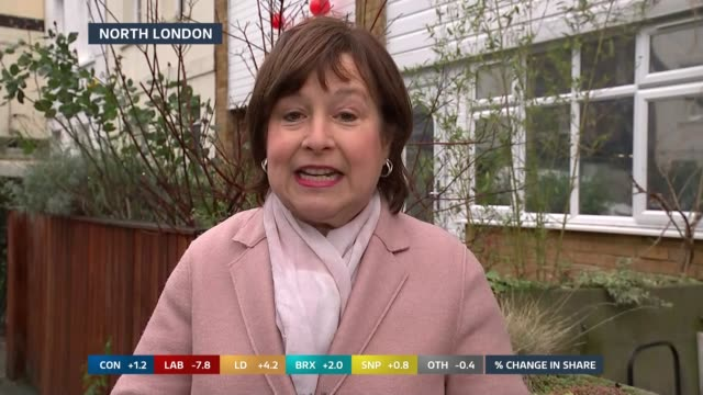 general election 2019: special: 09.25 – 10.00; england: london: islington: ext libby wiener to camera sot gir: / westminster: int / ext studio julie... - julie etchingham stock videos & royalty-free footage