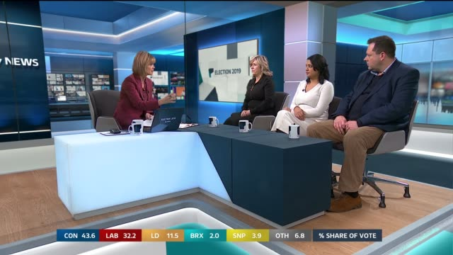 general election 2019: special: 10.00 - 11.00; england: london: gir: int studio julie etchingham leading discussion with sonia purnell , salma shah... - julie etchingham stock videos & royalty-free footage
