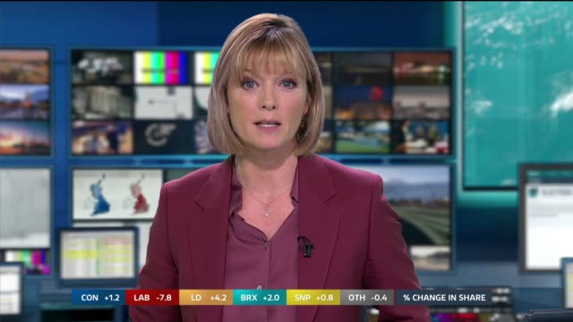 general election 2019: special: 11:00 - 12:00; england; london: gir: int studio julie etchingham to camera sot - julie etchingham stock videos & royalty-free footage