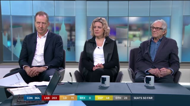 general election 2019: special: 11:00 - 12:00; england: london: gir: int studio julie etchingham leading discussion with tom baldwin , laura parker... - julie etchingham stock videos & royalty-free footage