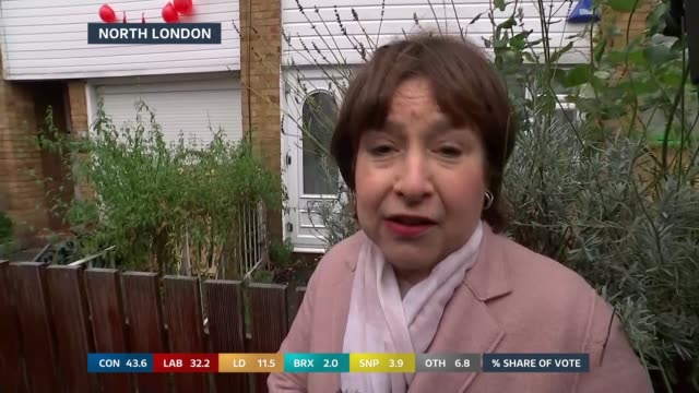 general election 2019: special: 11:00 - 12:00; england: london: gir: / islington: int / ext split screen studio julie etchingham and libby weiner... - julie etchingham stock videos & royalty-free footage