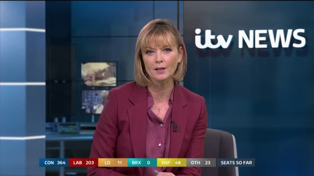 general election 2019: special: 12:00 - 13:00; england: london: gir: int studio julie etchingham to camera sot - julie etchingham stock videos & royalty-free footage
