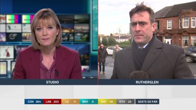 general election 2019: special: 12:00 - 13:00; england: london: gir: / scotland: rutherglen: int / ext split screen studio julie etchingham and damon... - julie etchingham stock videos & royalty-free footage