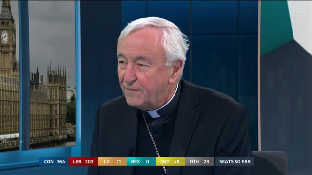 general election 2019: special: 13.00 - 14.00; england: london: gir: int studio julie etchingham leading discussion with cardinal vincent nichols sot... - julie etchingham stock videos & royalty-free footage