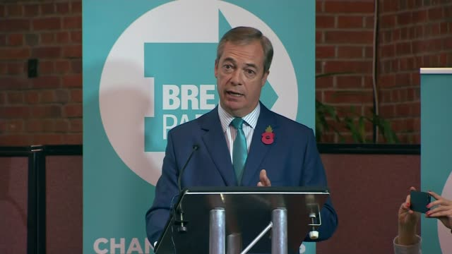 tories reject nigel farage's election pact offer england london photography** nigel farage mep speech excerpt sot we will contest every single seat... - mep stock-videos und b-roll-filmmaterial