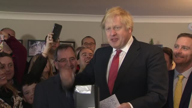 boris johnson 'thank you' speech to supporters in sedgefield england county durham sedgefield sedgefield cricket club int boris johnson cheered by... - county durham england stock videos & royalty-free footage