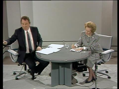 "general election: channel 4 news debate: margaret thatcher; part 4 of 7 england: london: central hall: cms barbara mackechan q sof ""i do think --... - ピーター・シソンズ点の映像素材/bロール"