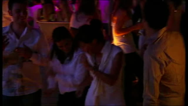 constitutional crisis; int * * music heard over following shots sot * * turkish people dancing inside nightclub ext / night young women helped out of... - pop music stock-videos und b-roll-filmmaterial