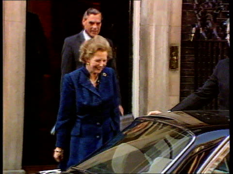 General Election Date speculation ITN LIB No 10 Downing Street SEQ Margaret Thatcher MP into car