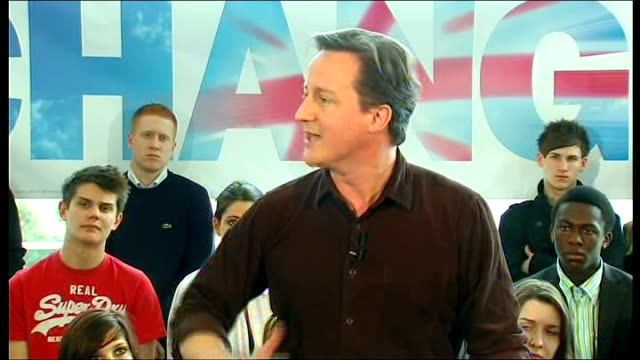 David Cameron election speech David Cameron MP speech SOT One of the reasons people don't vote is not because it's too difficult to go down to the...
