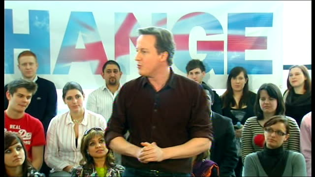 david cameron election speech england buckinghamshire milton keynes academy int eric pickles introducing david cameron sot david cameron mp speech... - politics and government stock videos & royalty-free footage