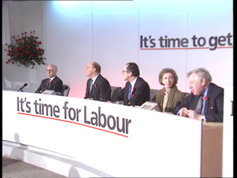 stockvideo's en b-roll-footage met general election final week of campaigns england london sw1 cms neil kinnock towards with margaret beckett followed by dr jack cunningham gerald... - roy hattersley