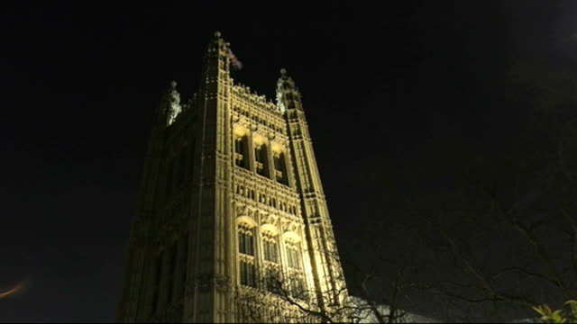 Labour would not form coalition with SNP in event of hung Parliament NIGHT Low Angle GV of Victoria Tower