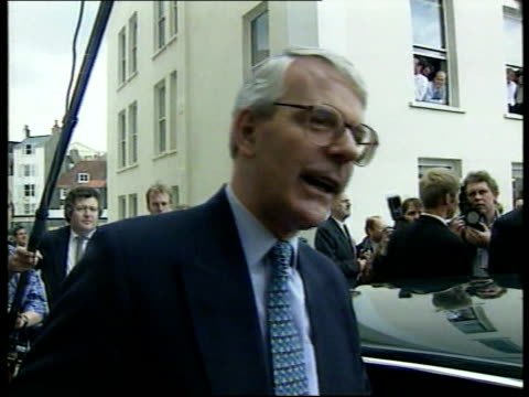 leaders; itn england: sussex: brighton pm john major to car and pointing at hecklers and saying that is old labour and what blair is trying to hide... - friday stock videos & royalty-free footage